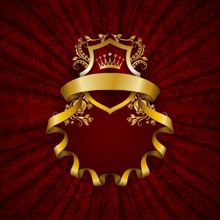 cadre doré élégant avec des éléments floraux, ornement en filigrane, la couronne d'or, bouclier, rubans, place pour le texte sur le tissu drapé rouge. Luxe fond fleuri dans le style vintage.