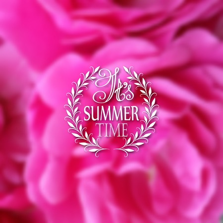 patten: It s Summer time. Typographic design with text, filigree floral frame, shadow on blurred background for greeting card, poster.