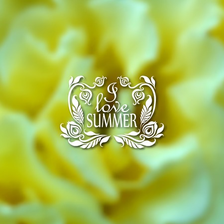 patten: I love Summer. Typographic design with text, filigree floral frame, shadow on blurred background for greeting card, poster. Illustration