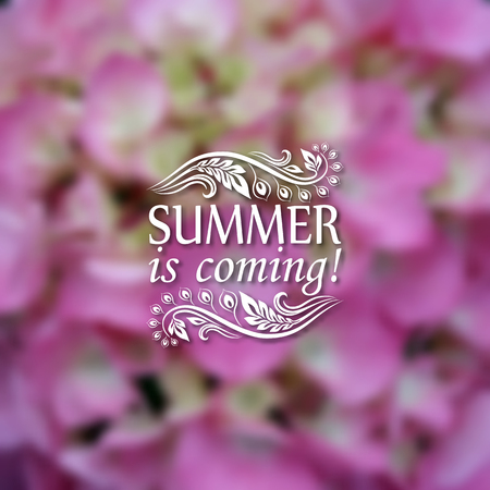 patten: Summer is coming. Typographic design with text, filigree floral frame, shadow on blurred background for greeting card, poster. Illustration