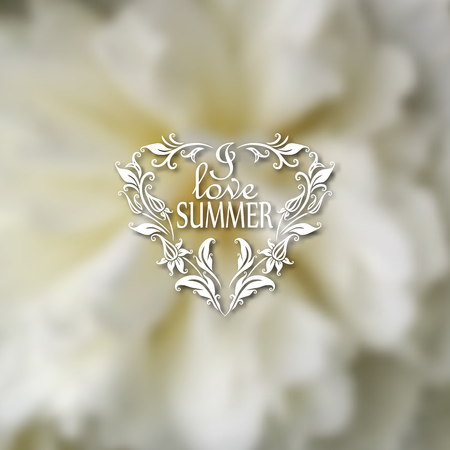 patten: I love Summer. Typographic design with text, filigree floral frame, shadow on blurred background for greeting card, poster Illustration