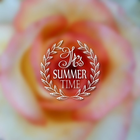 patten: It s Summer time. Typographic design with text, filigree floral frame, shadow on blurred background for greeting card, poster. Vector illustration EPS 10.