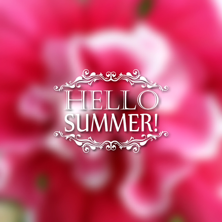 patten: Hello Summer. Typographic design with text, filigree floral frame, shadow on blurred background for greeting card, poster. Vector illustration EPS 10.