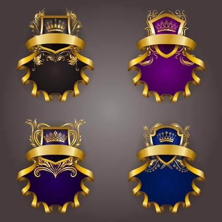 Set of golden royal shields for graphic design on background. Old graceful frame, border, crown, floral element, ribbon in vintage style for icon, label, emblem, badge, . Vector illustration Illustration