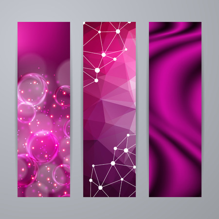 texture drapery: Set of templates for design of vertical banners, covers, posters, web site in geometric graphic style. Abstract modern polygonal, bokeh, elegant drapery texture backgrounds. Vector illustration