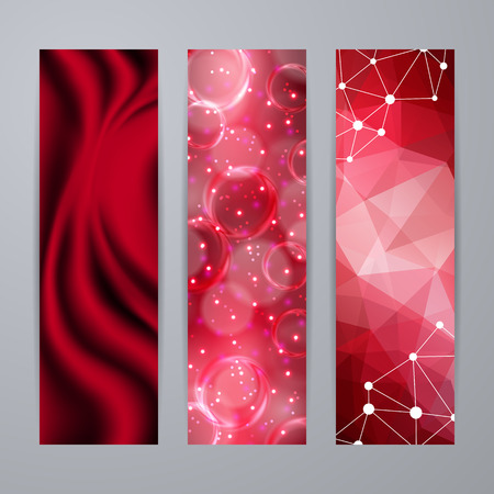 site backgrounds: Set of templates for design of vertical banners, covers, posters, web site in geometric graphic style. Abstract modern polygonal, bokeh, elegant drapery texture backgrounds. Vector illustration