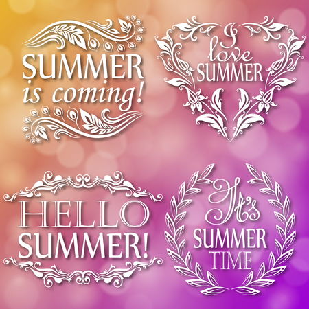 Hello Summer, Summer is coming, I love, It s Summer time. Set of typographic designs with text, filigree floral frame, shadow for greeting card, poster. Vector illustration 10.
