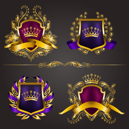 royal background: Set of golden royal shields for graphic design on background.