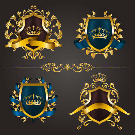 Set of golden royal shields for graphic design on background. Vektoros illusztráció