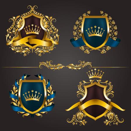 Set of golden royal shields for graphic design on background.