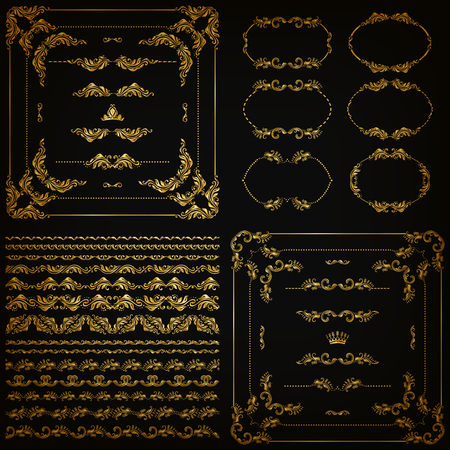 Set of gold decorative hand-drawn floral element, corner, seamless borders, frames, filigree dividers, crown on black background. Page, web site decoration in vintage style.