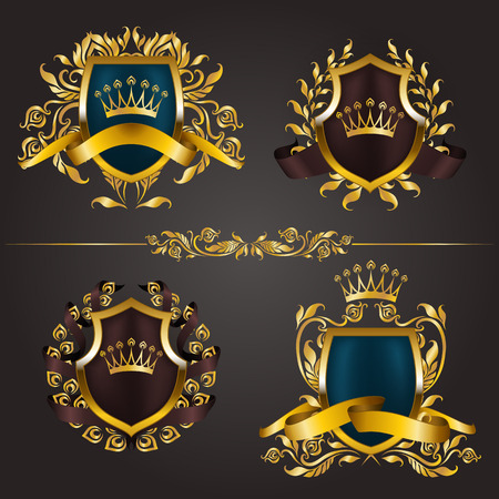 refine: Set of golden royal shields with floral elements, ribbons, laurel wreaths for page, web design. Illustration