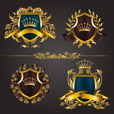 Set of golden royal shields with floral elements, ribbons, laurel wreaths for page, web design. Illustration