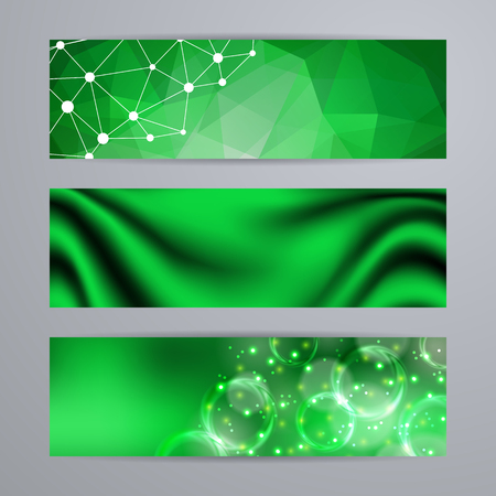 site backgrounds: Set of templates for design of horizontal banners, covers, posters in geometric graphic style for web site. Abstract modern polygonal, bokeh, elegant drapery texture backgrounds.