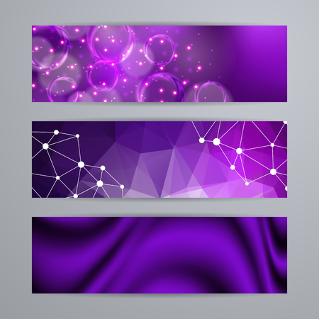 graphic backgrounds: Set of templates for design of horizontal banners, covers, posters in geometric graphic style for web site. Abstract modern polygonal, bokeh, elegant drapery texture backgrounds.