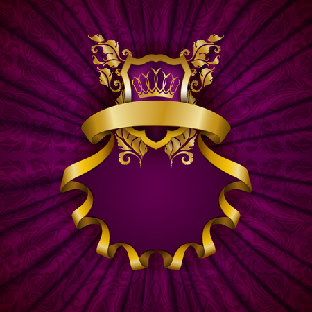 luxury background: Elegant golden frame with floral elements, filigree ornament, gold crown, shield, ribbons, place for text on purple drapery fabric. Luxury ornate background in vintage style. Illustration