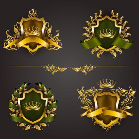 Set of golden royal shields with floral elements, ribbons, laurel wreaths for page, web design. Old frame, border, crown, divider in vintage style for label, emblem, badge. Illustration Illustration