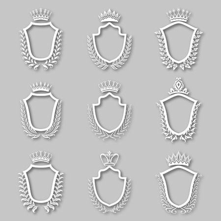 Set of white laurel wreaths, shields, crowns with shadows. Royal heraldic emblem, icon, symbol, label, badges, blazons, for web, page design. Floral elements in vintage style. Illustration