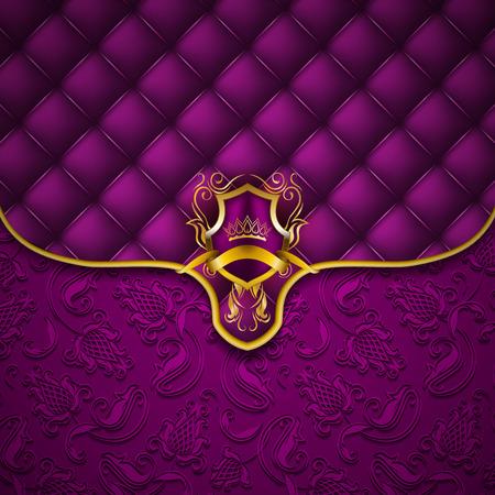 fondo elegante: escudo de oro elegante con la corona de oro, decoración de filigrana en ornamentado sobre fondo morado. lujo modelo floral transparente, botón-copetudo textura, blasón en el estilo vintage. Vectores