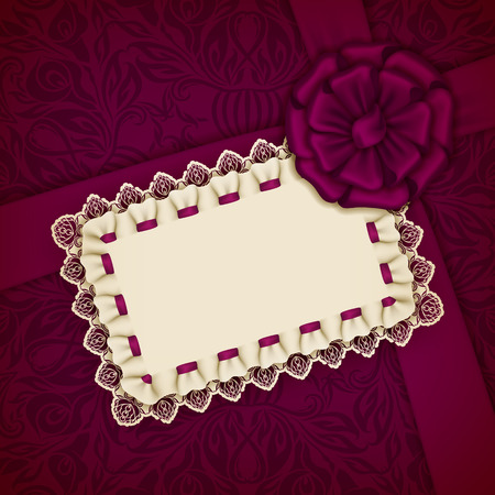 wedding gift: Elegant template for luxury wedding invitation, greeting, gift card with lace frame, filigree ornament, ribbon, silk bow, place for text. Floral elements, ornate background. Illustration