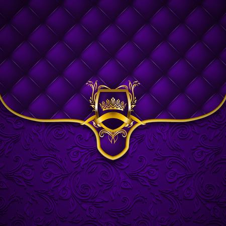 Elegant golden shield with gold crown, filigree decor on ornate envelope violet background. Luxury floral seamless pattern, button-tufted texture, blazon in vintage style. Vector illustration EPS 10. Vector Illustration