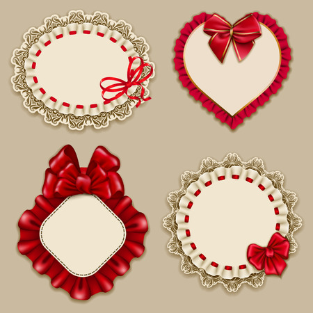 Set of elegant templates ornate frames for design luxury invitation, gift, greeting card, postcard with lace ornament, ruffles, red bows, ribbons, place for text. Vector illustration EPS10 Banco de Imagens - 68871601