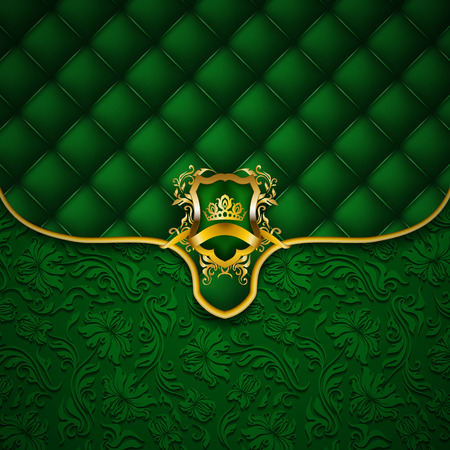 Elegant golden shield with gold crown, filigree decor on ornate envelope green background. Luxury floral seamless pattern, button-tufted texture, blazon in vintage style.