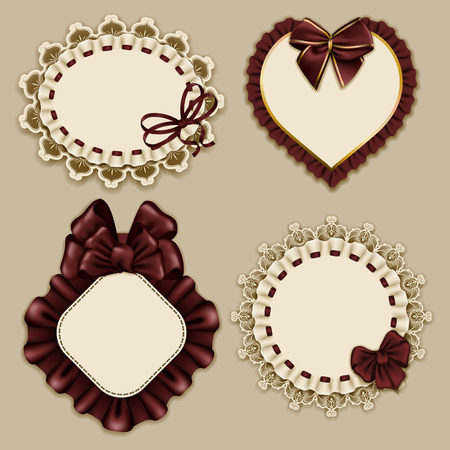 frill: Set of elegant templates ornate frames for design luxury invitation, gift, greeting card, postcard with lace ornament, ruffles, brown bows, ribbons, place for text.