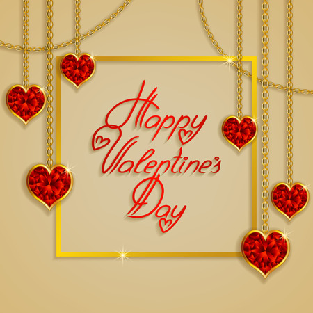 gemstones: Hearts from ribbon. Valentines day background.