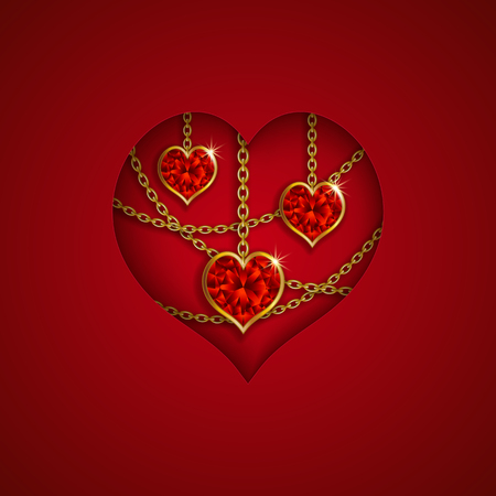ruby: Hearts from ribbon. Valentines day background.