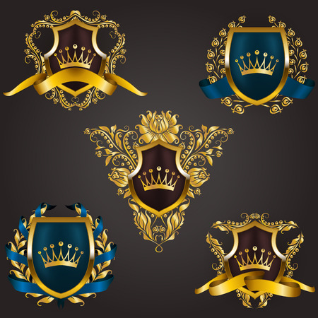 Monogram crown icons Set