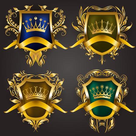 Ensemble de boucliers royaux dorés avec des éléments floraux, des rubans, des couronnes de laurier pour l'ancienne bordure de cadre, couronne, diviseur dans le style vintage pour l'étiquette, emblème, insigne, logo. Illustration EPS10