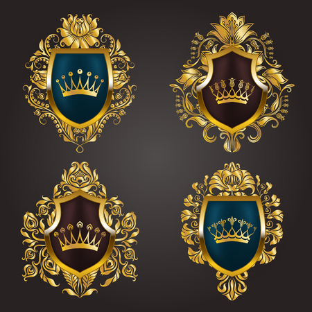 Set of golden royal shields with floral elements, ribbons, laurel wreaths for old frame border, crown, divider in vintage style for label, emblem, badge, logo. Illustration EPS10 Illustration