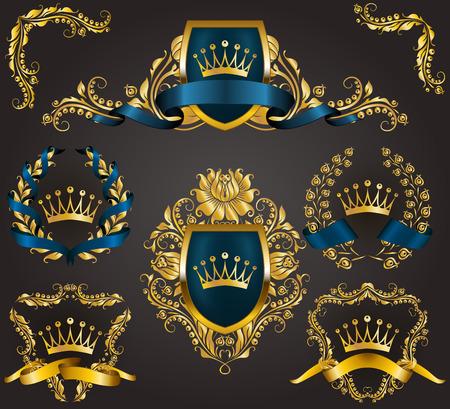 Ensemble de boucliers royaux dorés avec des éléments floraux, des rubans, des couronnes de laurier pour l'ancienne bordure de cadre, couronne, diviseur dans le style vintage pour l'étiquette, emblème, insigne, logo. Illustration EPS10 Banque d'images - 89049401