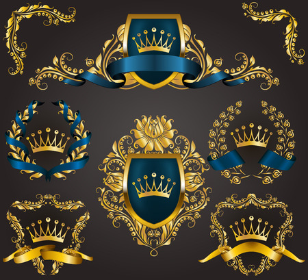 Set of golden royal shields with floral elements, ribbons, laurel wreaths for old frame border, crown, divider in vintage style for label, emblem, badge, logo. Illustration EPS10 Çizim