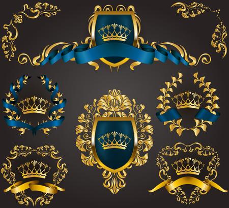 Set of golden royal shields with floral elements, ribbons, laurel wreaths for old frame border, crown, divider in vintage style for label, emblem, badge, logo. Illustration EPS10 Иллюстрация
