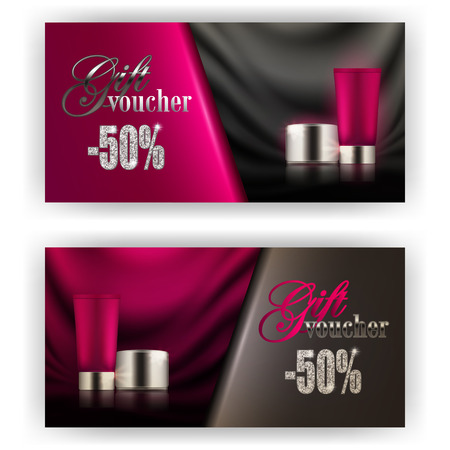 Set of gift vouchers with loose powder, bb, cc cream for annual, festival sale. Luxury premium products 3d realistic template vector mockup design