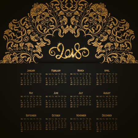 Vector business wall calendar on black background with elegant floral elements. Floral filigree gold ornament, hand-drawn numbers 2018. Elegant template in vintage style, week starting from Sunday. Illustration