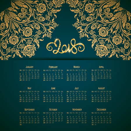 Vector business wall calendar on green background with elegant floral elements. Floral filigree gold ornament, hand-drawn numbers 2018. Elegant template in vintage style, week starting from Sunday.