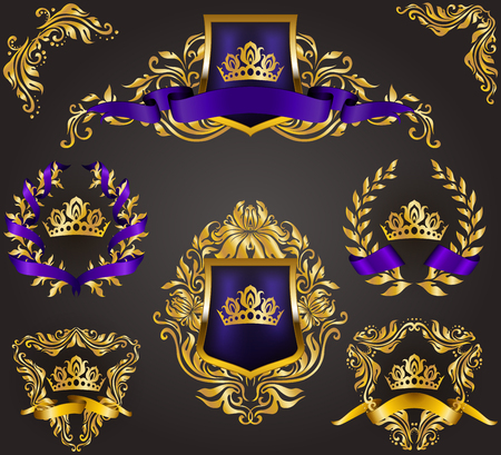 Set of golden royal shields with floral elements, ribbons, laurel wreaths for page, web design. Old frame, border, crown in vintage style for monograms, label, emblem, badge, logo. Illustration EPS10 Vettoriali