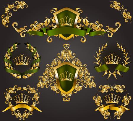 Set of golden royal shields with floral elements, ribbons, laurel wreaths for page, web design. Old frame, border, crown in vintage style for monograms, label, emblem, badge, logo. Illustration EPS10  イラスト・ベクター素材