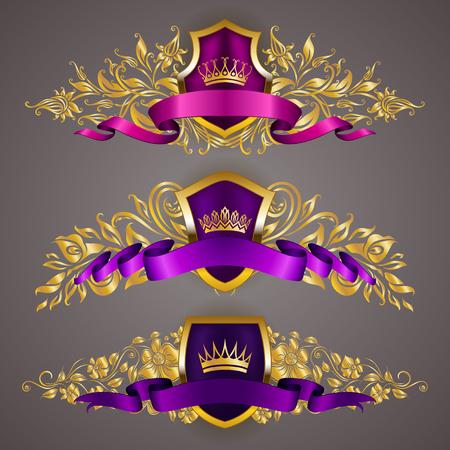 Set of golden royal shields with floral elements for page, web design. Filigree monograms, old frames, borders in vintage style for label, emblem, badge, logo, wedding card, invitation. Illustration.