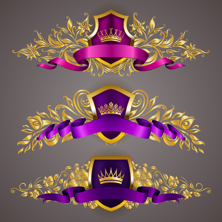 Set of golden royal shields with floral elements for page, web design. Filigree monograms, old frames, borders in vintage style for label, emblem, badge, logo, wedding card, invitation. Illustration. Stok Fotoğraf - 91939511
