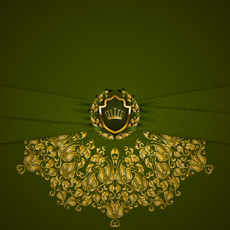 Royal background with ornament, shield, gold crown, ribbon, blazon, place for text in vintage style.