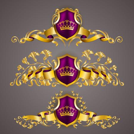 Set of golden royal shields with floral elements, ribbons, laurel wreaths for page, web design. Иллюстрация