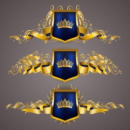 Set of golden royal shields with floral elements, ribbons, laurel wreaths for page and web design. Old frame, border, crown in vintage style for label, emblem and badge vector illustration.