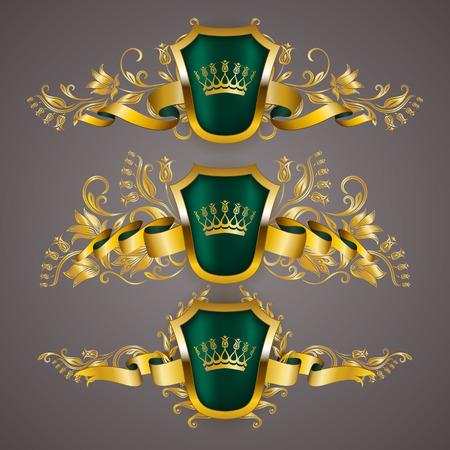 Set of golden royal shields with floral elements, ribbons, laurel wreaths for page, web design. Old frame, border, crown in vintage style for label, emblem, badge, logo. Vector illustration EPS10