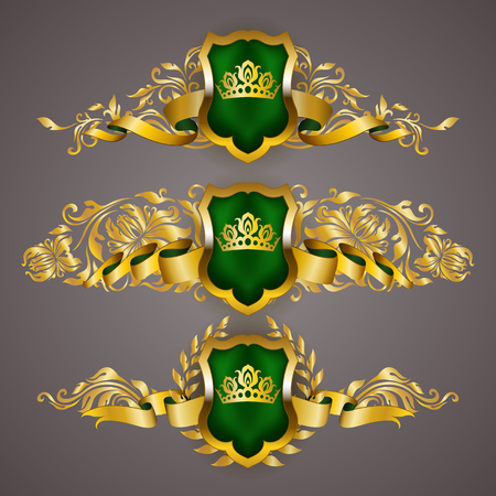 Set of golden royal shields with floral elements, ribbons, laurel wreaths for page, web design. Illustration