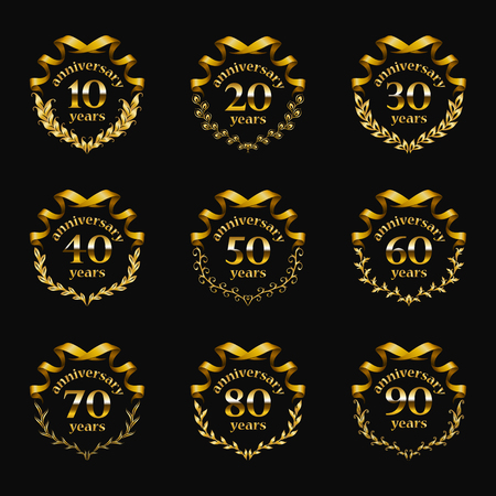 Set of gold anniversary badges with laurel wreaths, numbers. Decorative emblem of jubilee on black background. Filigree element, frame, border, icon, logo for web, page design in vintage style