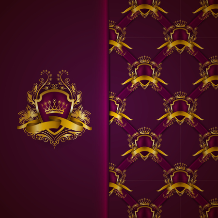 Elegant gold shield with gold crown, filigree decor on ornate purple background. Luxury floral seamless pattern, monogram, blazon in vintage style for page, site design, vip card. Vector illustration. Vettoriali